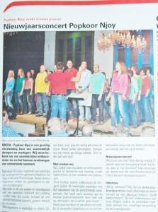 Popkoor Njoy Breda in de krant 2015