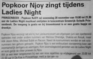 Popkoor Njoy Breda in de krant 2013
