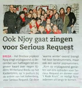 Popkoor Njoy Breda in de krant 2016